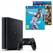 Конзола PlayStation 4 Slim 500GB Black, Sony PS4+Игра FIFA 19 за PlayStation 4+Игра GTAV (GTA5): Grand Theft Auto V за PS4