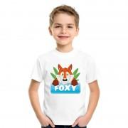 Bellatio Decorations Vossen dieren t-shirt wit voor kinderen