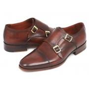 Paul Parkman Cap Toe Double Monk Strap Shoes Brown 0457-BRW