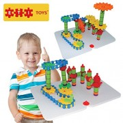 Educational Toys Jumbo Gears Kit by ETI Toys for Boys and Girls 170 Piece Set with Jumbo Gears INCLUDING a Resizeable Interlocking Chain Connector Pieces and 2 Pegboards