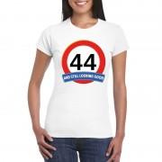 Bellatio Decorations Verkeersbord 44 jaar t-shirt wit dames