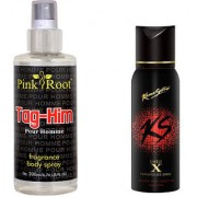 Kamasutra Single X Perfumed Deo Spray 120ml and Pink Root Tag-Him Pour Homme Fragrance body Spray 200ml Pack of 2