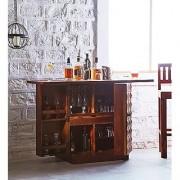 Santosha Decor Pre-Assemble Sheesham Wood Stylish Bar Cabinet - Wine Rack With Wine Glass Storage for Living Room