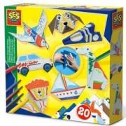 Детски комплект Направи си Оригами, животни и превозни средства SES, 0814008