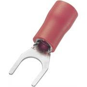 Papuc tip furca, sectiune: 0,5 - 1,5 mm², rosu, AWG 22 - 16, M4, 100 bucati