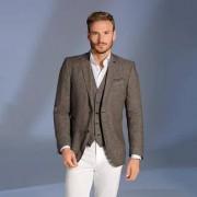 Carl Gross Linen Sports Jacket or Waistcoat, 46R - Brown mélange - Sports Jacket