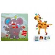 Pachet 2 Label Label minipaturica puzzle si 4 cutii sandwich Produsul 1 - elefant girafa