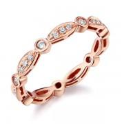Inel Borealy Aur Roz 14 K Natural Diamonds Art Deco String