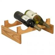Wooden Mallet Botellero de Madera para Botellas de Vino Dakota, 3 Botellas, Roble Claro, 1 Tier 3 Bottles, 1