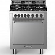 Aragaz Bompani Tech BO793DC/N, 70x60 cm, gaz, 5 arzatoare, aprindere electronica, grill, inox