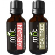 MNT Combo Set of Argan Cold Pressed Carrier Oil and Tea Tree Essential Oil (Each 15ML) Ideal for use in Hair loss Treatment Promotes Hair & Beard Growth Moisturizes Skin Health Benefit Massage