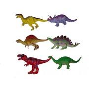 "Rose International 6"" Dinosaurs Pack of 6 Plastic Assorted Dinosaur Figure toy for Kids"