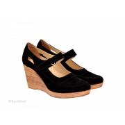 Pantofi dama piele naturala velur negri cu platforma cod P74NVEL - LICHIDARE STOC 35