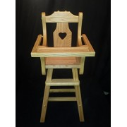 Doll High Chair w/Heart Solid Oak Amish Handmade Handcrafted Kids Toy Golden Oak