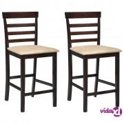 vidaXL Barske Stolice 2 kom Drvo Smeđe i Bež