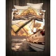 "Спално бельо с 3D мотив ""Кораб"" Ранфорс - 100% Памук"