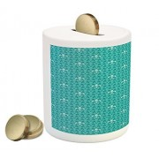 Fleur De Lis Coin Box Bank by Lunarable, Monochrome Medieval Motifs Pattern French Royal Lily Victorian, Printed Ceramic Coin Bank Money Box for Cash Saving, Turquoise and Pale Blue