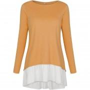 Camiseta Mujer Con El Borde Irregulares Y Mosaico - Amarillo