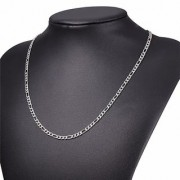 Platinum Plated Silver Chain for Men and Women Chain for Girls and Boys Chain Figaro Link Silver Chain for Men Fashion