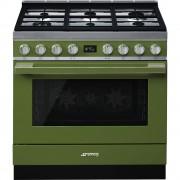 Smeg CPF9GPOG Cocina Portofino Verde con Encimera a Gas y Horno Eléctrico Pirolítico A+ ¡Envío Gratis!