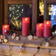 Luci Da Esterno Candela con LED bianco caldo effetto fiamma in movimento alta 10 cm Rustic Rossa