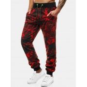 Rosegal Pantalon de Jogging Marbre Imprimé à Cordon M