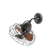 Faro Ceiling /wall Fan Keiki Diam. 43 Cm Basalt, Walnut, An Original Retro Fan.