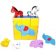 Pidoko Kids Wooden Happy Farm Animals Cube Blocks Puzzle for Kids | 6 Puzzles in One | Educational Toy 2 Year Olds & Up