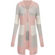 MADE IN ITALY Růžovo-šedý dlouhý dámský svetr s kapucí (122ART) Barva: růžová, Velikost: ONE SIZE