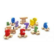 Digital Small Wooden Train: Best Educational Set of Trains with Fun and Colorful 0-9 Number Figures for Toddlers