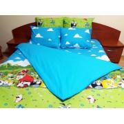Lenjerie de pat Angry Birds Duo Azur-M, 2 persoane, calitate I, gama Lenjerii CriDesign