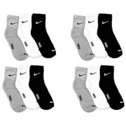 Nike Multicolour Cotton Ankle Length Socks - 12 Pairs