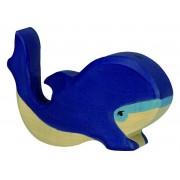 Fa játék állatok - kék bálna, kicsi