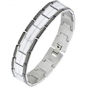 The Jewelbox Biker Black Silver 316L Surgical Stainless Steel Rhodium Bracelet For Boys Men