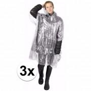 Merkloos 3x wegwerp regenponcho transparant