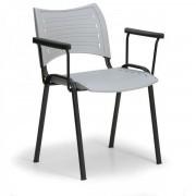 Kovo Praktik Plastová židle SMART - černé nohy s područkami šedá