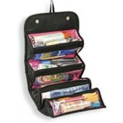 Aksharkunj Roll N Go 4 In 1 Travel Buddy Toiletry Bag Jewellery Storage Organizer Travel Toiletry Kit(Multicolor, Black)