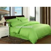 Lenjerie de pat damasc cu 6 piese culoarea verde aprins