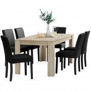 PremiumXL - [en.casa] Blagovaonski stol - rustični hrast - 160x90 cm - sa 6 tapeciranih stolica - crne -