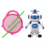 ANG Flash drum With 3D Multi Colour Light and Music For Kids&ANG Dancing Naughty Robot with 3D Flashing Lights & Music for Kids, Battery Operated, Multi Color (360 Degree Dancing Smart Robot)(Product color may vary depending upon availability)