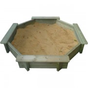 10ft Octagonal Wooden Sand Pit 27mm - 295mm Depth with Play Sand and Wooden Lid