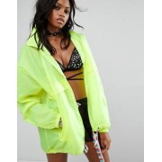 Reclaimed Vintage Inspired Festival Neon Rain Mac Jacket With Concealed Hood - Yellow