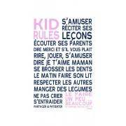 Mes mots deco Affiche adhesive enfant kids rules rose pale format 45x30cm