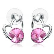 Szív alakú fülbevaló rózsaszín Swarovski kristállyal