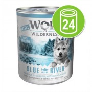 Voordeelpakket Little Wolf of Wilderness 24 x 800 g Hondenvoer - Blue River Junior - Kip & Zalm