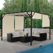 Pergola Baia, Garten Pavillon Terrassenüberdachung, stabiles 6cm-Stahl-Gestell + Schiebedach ~ Variantenangebot