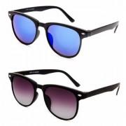Debonair Combo of UV Protected Mirrored Blue And Black Wayfarer Sunglasses For Men Women Girls Boys