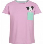 Endo Bluzka z krótkim rękawem dla dziewczynki, z kieszonką, różowa, 9-13 lat