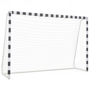 vidaXL Футболна врата, 300x200x90 см, метал, черно и бяло