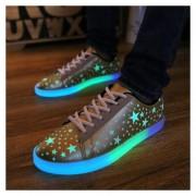 Flash Zapato Casual Unisex Con LED Creativo Tenis Casuales Hombre Moda Estrella Dorado